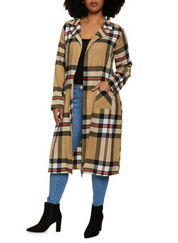 Plus Size Plaid Collared Duster - 1803076020103