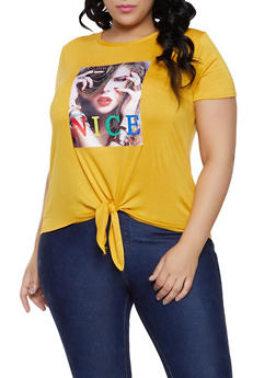 Plus Size Studded NICE Graphic Tee - 1806029891009