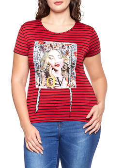 Plus Size Love Graphic Striped Tee - 1806029891025