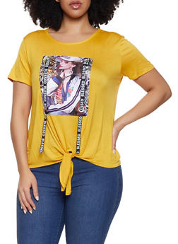 Plus Size Blessed Ribbon Model Graphic Tee - 1806029891091