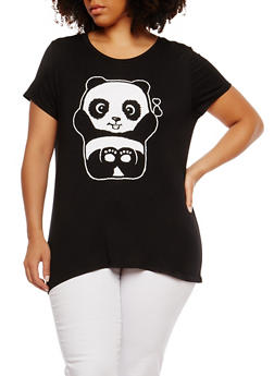 Plus Size Panda Graphic T Shirt - 1806061350472