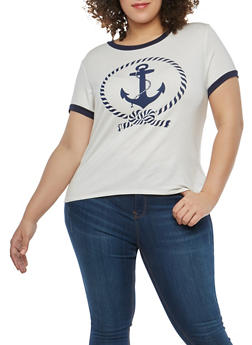 Plus Size Anchor Graphic T Shirt - 1806061358724