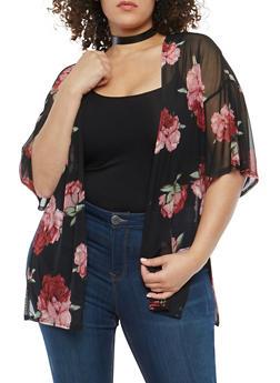 Plus Size Floral Mesh Kimono - 1810020624665