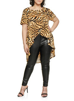Plus Size Animal Print High Low Top - 1810029890151