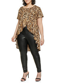 a0bf864bcf0 Plus Size Leopard Print High Low Top - 1810029890152