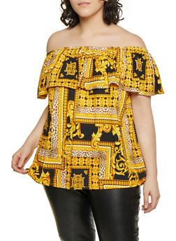 Plus Size Ruffled Off the Shoulder Status Print Top - 1810029890161