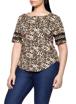 Plus Size Cheetah Fishnet Insert Tee - 1810029890171