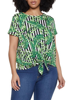Plus Size Tropical Tie Front Tee - 1810029890181