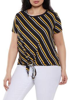 Plus Size Diagonal Striped Tie Front Tee - 1810029891010
