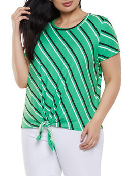 Plus Size Diagonal Striped Tie Front Tee - 1810029891010