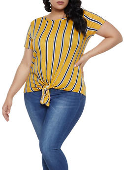 Plus Size Striped Soft Knit Tie Front Top - 1810029891011