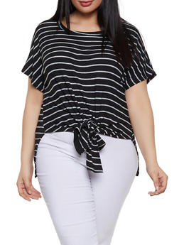 Plus Size Striped High Low Tie Front Top - 1810029891013