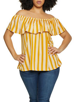 Plus Size Striped Off the Shoulder Top | Mustard - 1810029891016