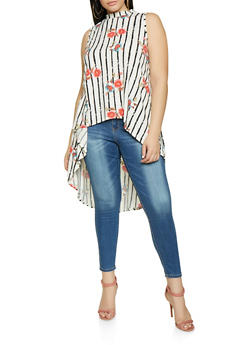Plus Size Floral Striped High Low Top - 1810054261112