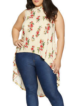 Plus Size Striped Floral High Low Top - 1810054261114