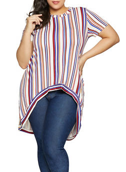 Plus Size Striped High Low Top - 1810054264410