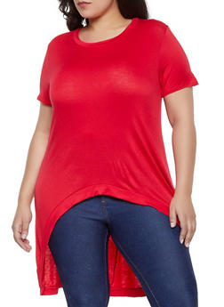 e2b9c642eb47a Plus Size Solid High Low Tee - 1810054264411