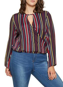 Plus Size Striped Faux Wrap Top - 1810063400252