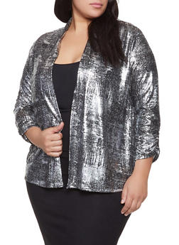 Plus Size Foil Burnout Cardigan - 1810065244532