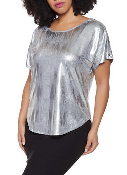 Plus Size Foil Burnout Button Detail Top - 1810065245044