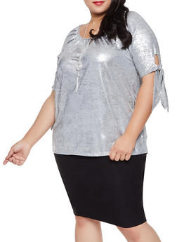 Plus Size Foil Burnout Top with Necklace - 1810065245227
