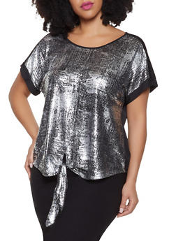 Plus Size Foil Burnout Tie Front Top - 1810065245324