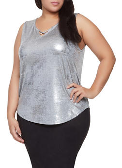 Plus Size Foil Burnout Tank Top - 1810065245435