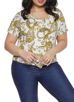 Plus Size Printed Tie Front Top - 1810066597501