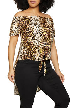 Plus Size Off the Shoulder Tie Front Top - 1810066597502