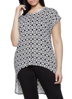 Plus Size Geometric Print High Low Tunic Tee - 1810066599002
