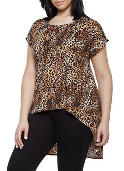 Plus Size Leopard Print Soft Knit High Low Top - 1810066599003