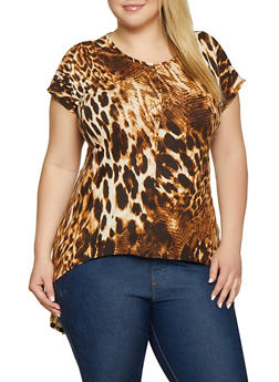 Plus Size Brown Print Knit Tops