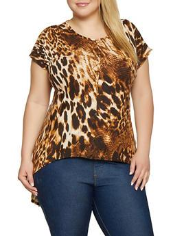 Plus Size Leopard Print Soft Knit High Low Top - 1810066599003
