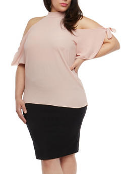 Plus Size Mock Neck Cold Shoulder Top - 1812020621556