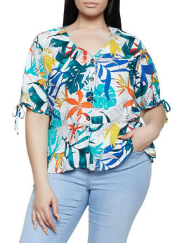 Plus Size Printed Button Front Peplum Top - 1812051060641