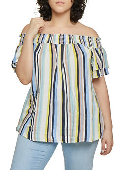 Plus Size Vertical Stripe Off the Shoulder Top - Multi - Size 1X - 1812051060674