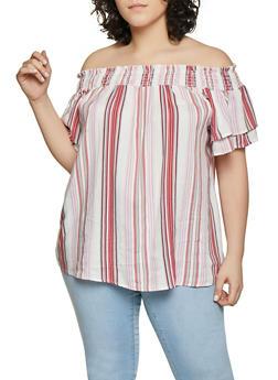 Plus Size Vertical Stripe Off the Shoulder Top - Multi - Size 3X - 1812051060674