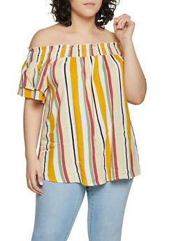Plus Size Vertical Stripe Off the Shoulder Top - 1812051060674