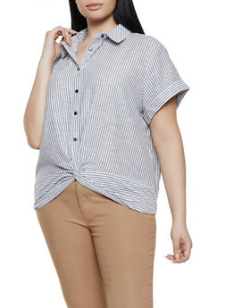 Plus Size Striped Short Sleeve Linen Shirt - 1812051061654