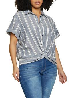 Plus Size Striped Short Sleeve Linen Shirt - 1812051061654