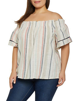Plus Size Linen Off the Shoulder Top | 1812051061700 - 1812051061700