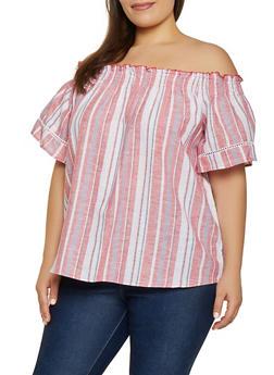 Plus Size Linen Off the Shoulder Top | 1812051061700 - 1812051061700