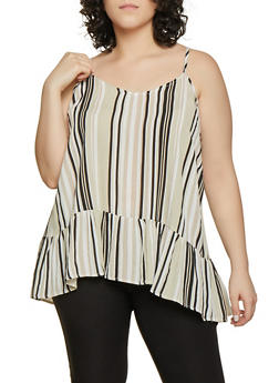 Plus Size Striped Ruffle Hem Cami - 1812051068798