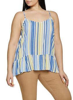 Plus Size Striped Ruffle Hem Cami - 1812051068798