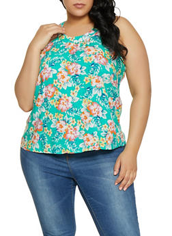 Plus Size Zip Back Floral Top - 1812051069120