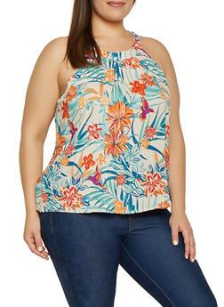 Plus Size Zip Back Floral Top - 1812051069120