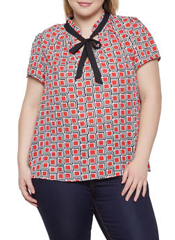 Plus Size Printed Tie Neck Blouse - 1812054210791