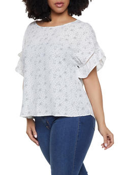 Plus Size Polyester Printed Tops