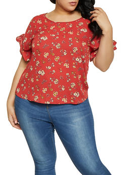 Plus Size Floral Crochet Insert Bell Sleeve Top - 1812054215788