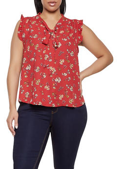 Plus Size Floral Tie Neck Blouse | 1812054218788 - 1812054218788